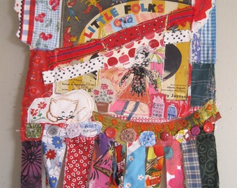 LITTLE FOLKS - Mixed Media Assemblage - Vintage Fabric Collage Folk Art - Altered Patchwork Crazy Quilt  - myBonny