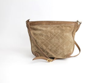 Vintage 1980s Sharif Leather Purse | Embossed Suede Leather Handbag | Geometric Print Neutral Bag