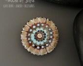 Handmade lampwork focal bead  |  Mandala : Early Spring   |  lentil    |  artisan glass |  SRA | OOAK  |     made by Silke Buechler