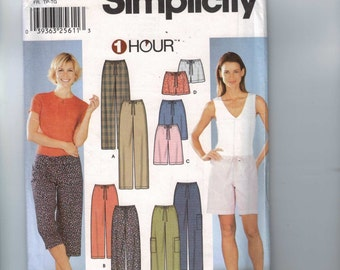 Misses Girls Sewing Pattern Simplicity 7092 Misses One Hour Drawstring Waist Pants Shorts Size 6-24 Bust 30-46 UNCUT