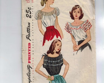 1950s Vintage Sewing Pattern Simplicity 2034 Misses Ruffled Peasant Blouse Top Size 12 Bust 30 50s UNCUT