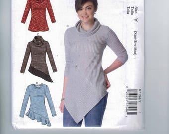 Misses Sewing Pattern McCalls M7194 7194 Misses Pullover Asymmetrical Hem Top Sweater Cowl Neck Size 4-6-8-10-12-14  16-18-20-22-24-26 UNCUT