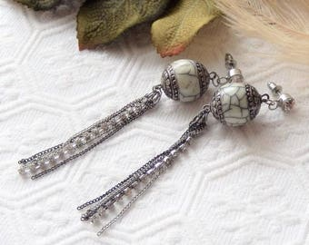 Sale.......One of a Kind Sterling Silver, Bone, Crystal and Mixed Metal Earrings