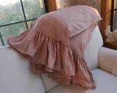 Red Ticking Ruffled Pillowcases Custom Order Red TIcking Bedding  Ticking Pillows for the Bed Lay A Way