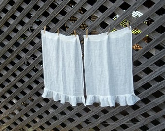 Linen Café Curtains White Gauze Linen Curtains Custom Sizes Fabrics Window Treatment Ruffled Curtains French Country Cottage Chic Prairie