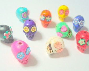 Rainbow Variety of  13mm Howlite Sugar Skull Beads