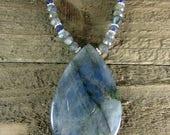 Blue Labradorite Pendant, Labradorite Necklace, Blue Flash Labradorite Choker, Large Labradorite Pendant