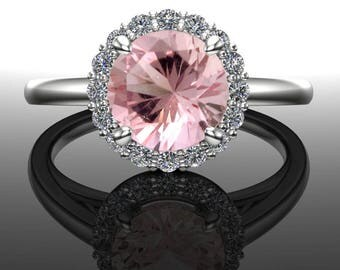 Pink Tourmaline Ring with Halo; Genuine Round Pink Tourmaline Gemstone, Solid 14k Rose, White, or Yellow Real Gold & Moissanite