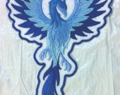 """ICE Phoenix in Flight Embroidered Iron on Applique - Patch - 2 Sizes to chose from -  7.5"""" x 4.5"""" and 12"""" x 7.25"""""""
