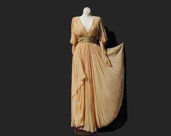 Vintage Peach Complexion Silk Chiffon Evening Gown