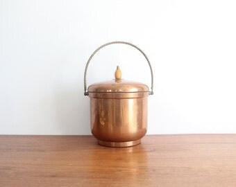 Sheffield Silver Co. EPC Copper Ice Bucket w/ Glass Insert. Glam Bar Accessory