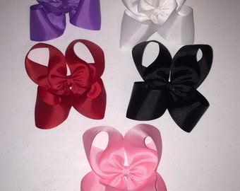 """HUGE Hair Bow Your Choice You Choose Color HUGE 4.5 inch Boutique Bow Made with 2.5"""" wide Ribbon"""