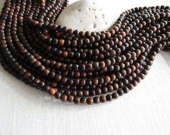 Tiger ebony wood round wood beads , Kamagong Camagong , Dark to light brown , Philippines, boho Natural exotic 5/6mm ( 16 inch strd ) 6PH25