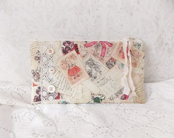 Shabby Valentines Day Chic Tattered Romantic Zipper Pouch