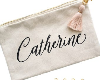 Personalized Makeup Bag, Personalized Cosmetic Bag, Canvas Pouch, Bridesmaid Cosmetic Bag, Bridal Party Gift, Pencil Case, Custom Bag, Favor