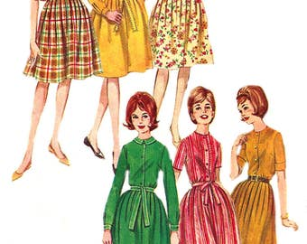 1960s Dress Pattern Butterick Vintage Sewing Uncut Shirtdress Full Skirt Women's Misses Junior's  Size 11 Bust 31. 5 Inches