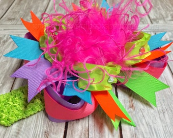 Neon Over the Top Bow or Headband for girls or baby, FREE HEADBAND INCLUDED