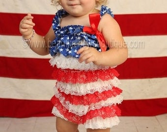 Baby Girl Romper July 4th,USA Flag Romper,Baby Lace Romper,First 4th of July Outfit,Romper Patriotic 4th of July,Baby Girl Red White Blue