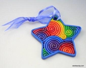 Rainbow Star Mini Ornament in Polymer Clay Filigree