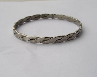 Vintage Sterling Silver 925 Braided Bangle Bracelet