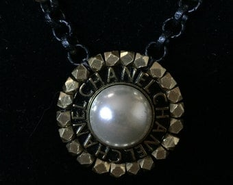 Black and Gold Necklace with Vintage Chanel Button