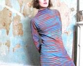 Misskarret Wearable Art Dress Stretchy Cotton Jersey Tunic Dress T Shirt Dress Avant Garde Hand Printed Striped Long Sleeve Tunic Top