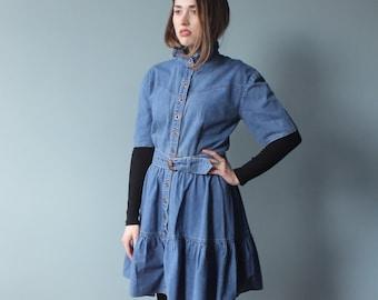 SALE denim tiered dress | belted short sleeve dress | 1980s medium