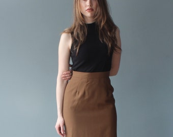 cinnamon pencil skirt | wool skirt | 1990s small