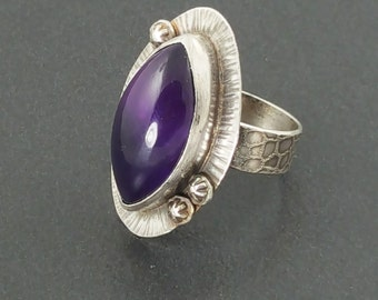Amethyst Marquise Ring, size 9 ring, flowers, purple amethyst ring, amethyst, large ring, boho ring, big ring, statement ring, purple silver