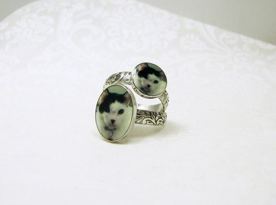 2 Purrfect Photo Rings, Personalized Rings with a Sterling Band - RiS