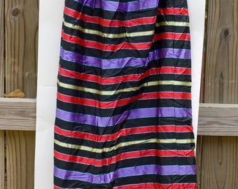 Vintage Sunny Lee Ruffled Hem Maxi Skirt 1960s Purple Red Gold Stripes