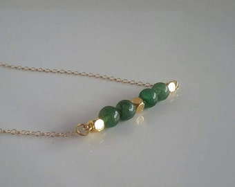 Green Adventurine Bar Necklace - Greenery Necklace - Layering Necklace - Gemstone Necklace - Gift Ideas For Girlfriends - Green Necklace
