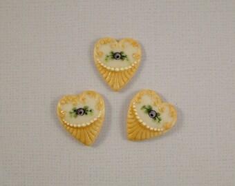 Fancy Heart Button set of 3