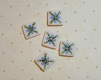 Square Design Button set of 5