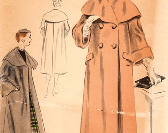 1950s Vogue Special Design S-4285 FF Vintage Sewing Pattern Misses Overcoat, Cape Collar Coat, Double Breasted Coat Size 12 Bust 30