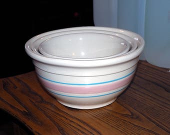 McCoy Stonecraft Bowls - Nested Set of 3 - Sizes 8 7 6 - Pink, Blue and Cream - Vintage 1970s Ovenproof Pottery