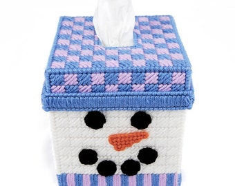 PATTERN: Quilted Snowman Tissue Box Cover in Plastic Canvas