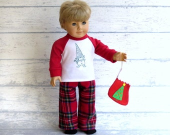 American Boy Doll Christmas Pajamas and Crew Socks, 18 inch Doll Elf Pajamas, Flannel Winter PJs