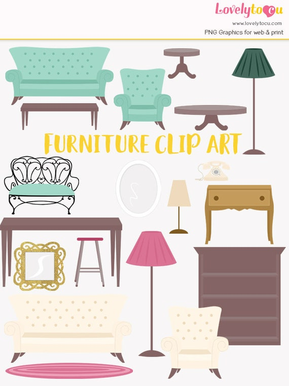 living room furniture clipart. furniture clipart, house furnishings, interior decorating, decor style, home office, living room, sofa, table, lamp, desk, stool (lc16) from lovelytocu on room clipart