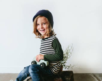 Pine striped Merino kids top
