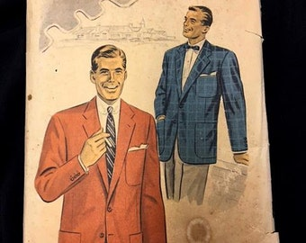 Vintage 1950s Men's Suit Sport Jacket Pattern . Advance Sewing Pattern No. 6817 . 50s UnPrinted Pattern Complete with Instructions Chest 40