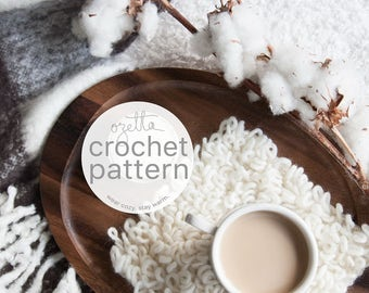 Crochet Pattern / Texture Coaster, Coffee Square Coaster, Decor / THE WOOLY Coaster