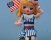 Vintage Fourth of July Patriotic Pose Doll, Sitting on Thread Spool
