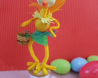 Vintage Style Easter Satin Ball Head Chick Girl with Green Skirt