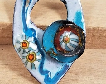 Pendant Blue River Shield Copper Torch and Kiln Fired Enameled 1 Charm components Whimsical