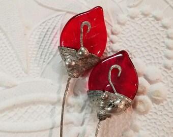 Leaf Head Pins Silver Gleem Soldered Headpins 1 pair Red Translucent Handmade