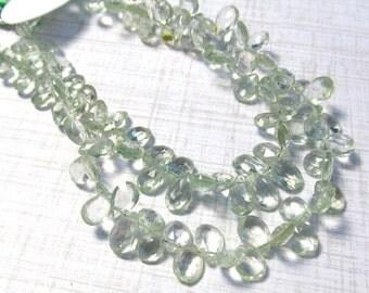 Green Amethyst Briolette Beads, Prasiolite Gemstone Beads 8 Inches 7mm 8mm 10mm