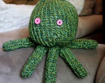 Olive green Octopus Crochet Knit Stuffed Plush