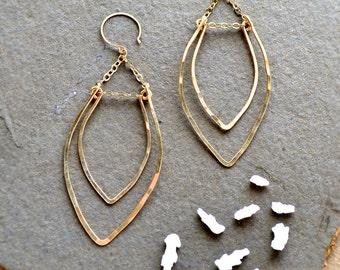 Rope Swing Earrings - gold marquis earrings, hammered gold chandelier earrings, gold statement earrings, E14G