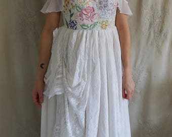 Meadow Wedding or Formal Gown... boho whimsical bustier prom romantic fairy country vintage hand embroidered eco friendly